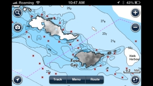 A screenshot of the Navionics App clearly showing a route between Guana and Fowl as a entrance into Elizabeth Harbour.