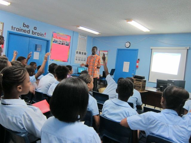 Howard giving a presentation on the EHCP logo design competition and sea turtles at St. Andrews Anglican School.
