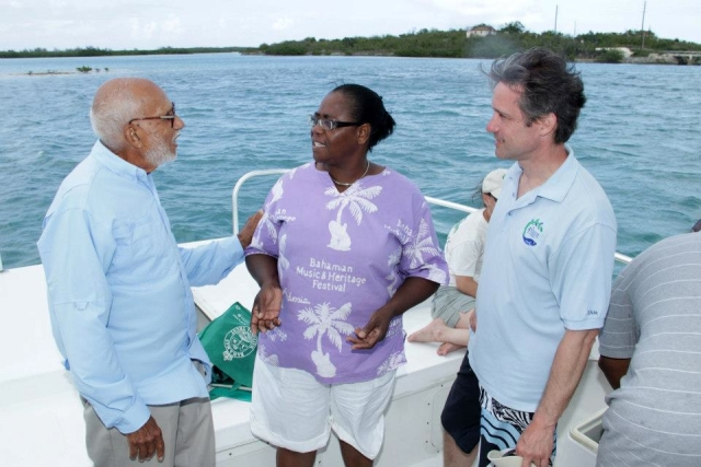 Mr. Basil Minns, Mrs. Petherina Hanna, and Mr. Fabien Cousteau. The EHCP led a field trip of Moriah Harbour Cay National Park with Mr. Basil Minns. The event was attended by the Ministry of Tourism, The Department of Social Services, The Department of Environmental Health, the Island Administrator, and Tourism Today.