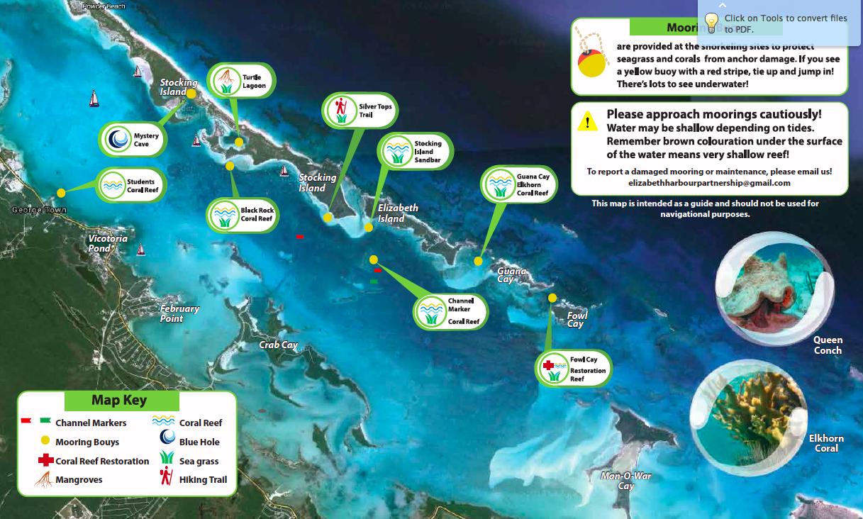New Elizabeth Harbour snorkeling maps available The Elizabeth